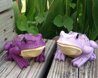 Lavender & Purple Frog Garden Statues / Whimsy Yard Art / Garden Patio Porch Steps Decor