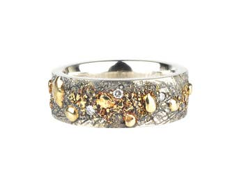 Fused 18k Gold and Silver Ring with Diamonds