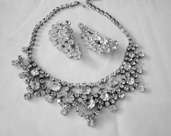 Vintage Prong set Rhinestone Necklace & Earrings from the 80s