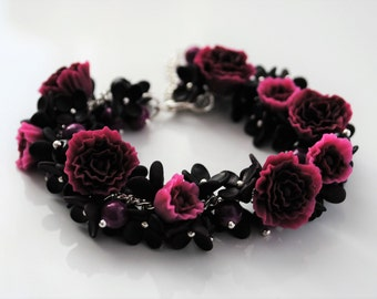 Polymer clay flower bracelet pink / bordeaux / black