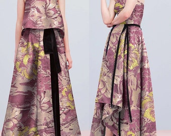 "Exquisite Designer Jacquard Fabric 59"" Width Gold Flora Embroidery Fabric Fashion Apparel Fabric 1/2M"