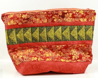 Red & Green Hand Quilted Sock Knitting Bag with Gold Details