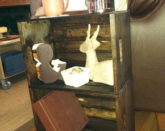 Handmade Wood Crate Night Stand   Rustic End Table