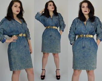 Rush | Large | 1980s Acid Wash Denim Dress 80s Fitted Dramatic Wiggle Dress