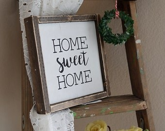 Home Sweet Home | Framed Sign | Farmhouse Sign | Farmhouse Decor | Rustic Sign | Distressed | Rustic Decor | Sign | Rustic | Fixer upper