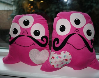 SALE! Monster Pierre in Light and Dark Pink-Great Gift for Valentine's Day!-Ready to Ship