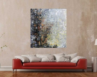 Original abstract artwork on canvas ready to hang 130x120cm #822