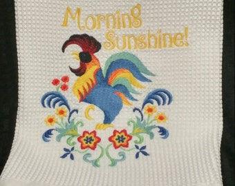 """Embroidered Rooster Hand Towel, Kitchen Towel, Bath Hand Towel, """"Morning Sunshine"""", Hostess or Housewarming Gift, Farmhouse Home Decor."""