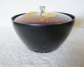 Japanese Lacquer Ware Museum Quality & Craftsmanship-black bowl, sienna brown lid and 5 dishes. Chrysanthemum decorated. Presentation piece!