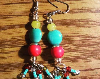 Yellow turquoise and red earrings by Jukeboxx Jewelry and Crochet