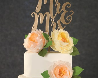 Wedding Cake Topper-Gold Mr & Mrs Cake Topper-Gold Custom Wedding Cake Topper-Rustic Wedding Topper-Wooden Cake Topper-Rose Gold Cake Topper