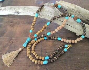 Mala-Necklace with Stonebeads, Rudraksha*Coconut beads*Hippie Boho Yoga Style*