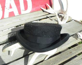 Vintage • Wilshire Brand Netted Black Wool Church Hat | Ladies Millinery Netting Black Ribbon | USA