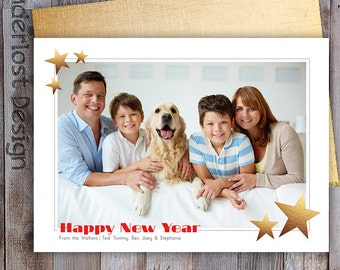Custom Happy New Year Card Photo Frame with Gold Foil Stars Gold Back 5x7 Postcard