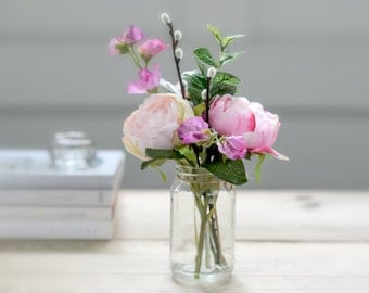 Artificial Pink Peony And Sweetpea With Vintage Jam Jar | Artificial Pink Sweetpea & Peony Flower Arrangement | Mother's Day Gift