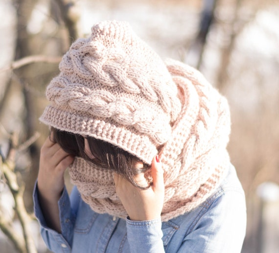 Hooded Cable Scarf, knitting pattern, Hoodie, Cabled Long ...