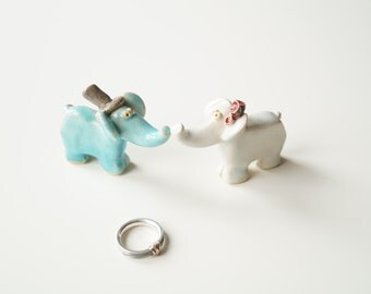 Elephant Cake Topper, Wedding Cake Topper, Elephant Couple Cake Topper by Her Moments