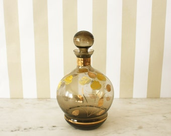 Mid Century Brown and Yellow Glass Decanter