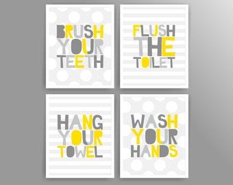 Yellow Bathroom Signs yellow grey bathroom | etsy