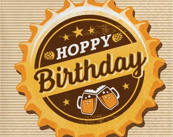 Hoppy Birthday Beer Napkins/cheers and beers / Beers party/ beers theme/ beer party /Male party /Beers night party/ Adult party
