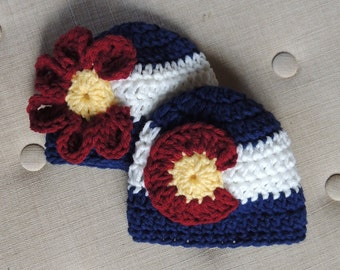 Colorado Flag Hat, Colorado Flag Beanie, Colorado Hat, Girl Colorado Hat, Boy Colorado Hat, crochet Colorado hats, Colorado flag hats,