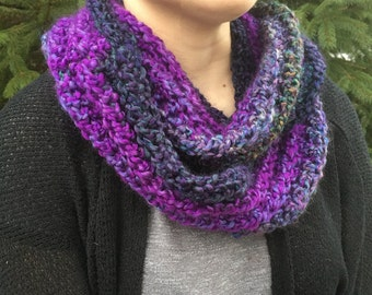 Infinity Scarf, Crocheted- Multi colored, Purples and Teals with varigated colors