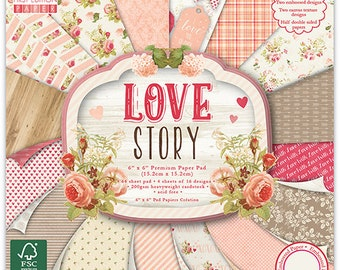 Scrapbook Paper - First Editon Love Story 6x6 Paper Pad - 64 sheets Embossed Cardstock - Heavyweight Cardstock - Half Double Sided