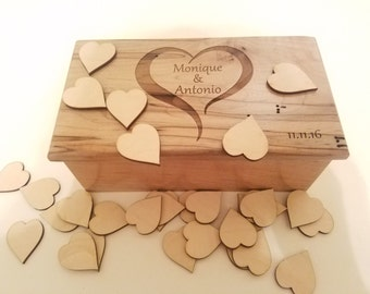 Personalized Guest Book Alternative Heart Box, Rustic Guest Book Mini Hearts Holder, Wedding Guest Box, Engraving Wedding, Signature Hearts