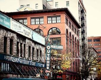 Portland Photography, urban decor, architectural photography, Portland Oregon photo, travel photography, rustic decor, urban art, orange