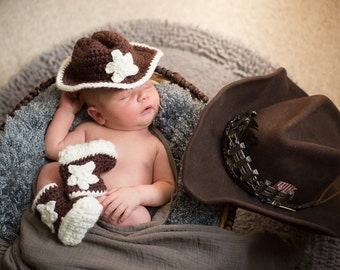 Baby Cowboy Handmade Crocheted Hat and Boots Set/ Newborn Photography Prop/ Halloween Accessories/ Christmas Gift