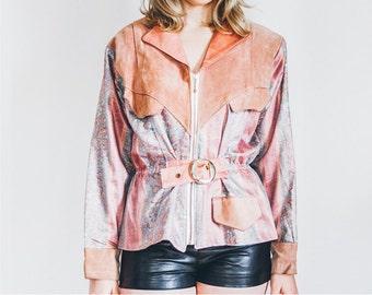 Pink Suede Jacket, 80s Jacket, Vintage Jacket, Unique Jacket, Pink Vintage Jacket, Pink Leather Jacket, Belted Jacket, Medium Jacket