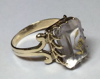 Vintage Victorian 10k Yellow Gold Statement Ring With Amethyst With Rose Of Sharon Rose Cut Diamond Size 6