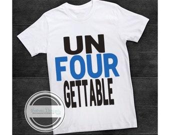 Unfourgettable Boys 4 Year Old Birthday Shirt   Unforgettable Birthday Top   Un Four Gettable Fourth Birthday