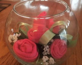 Baby Sock Bouquet, Baby Sock Baby Shower Gift,  Handmade Infant Sock Baby Shower Arrangement, New Mother Gift, Unique Baby Gift