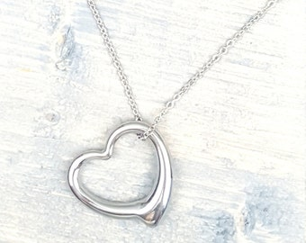 stainless steel heart necklace, silver heart necklace, gift for her, custom jewelry,wiredtwist
