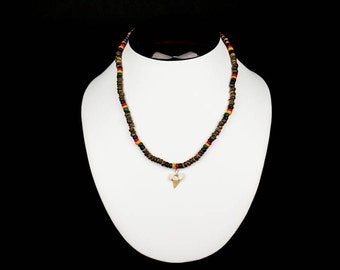 Shark Tooth Necklace: Wooden Beads - Narrow Tooth (282-6)