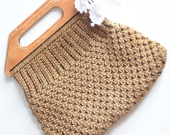 Vintage 1970s Macrame Bag, Boho Chic Macrame bag