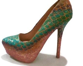 Glitter Heels / Mermaid Glitter Heels / Mermaid Scale Pumps / Glitter Wedding Heels / Women's Shoes / Women's Pumps / Wedding Shoes