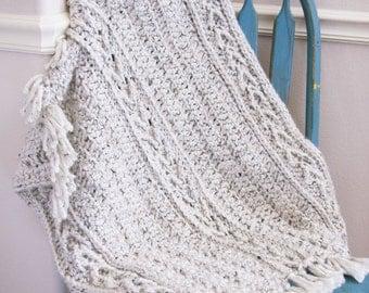 Arrow Crochet Baby Blanket | Beautiful Crochet Fringe Afghan | Newborn Blanket