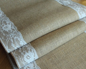 Natural burlap hessian and ivory lace table runner, weddings rustic home decor , celebrations