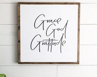 Grace God and Gratitude | prayer wood sign | custom wood frame sign | fixer upper decor