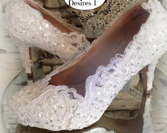 White lace,pearls and crystals wedding shoes bride bridal prom