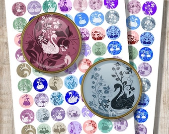 Romantic Jewelry Images, Swan Silhouettes for Print, Digital Collage Sheet, 20 mm 25 mm 1 inch Circles, Cabochon Image, Instant Download, f1