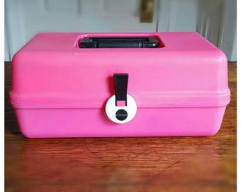 Vintage Pink 1980s Exclamation Perfume - Cosmetics / Beauty Products Organizer Case