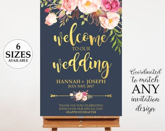 Navy Blue Welcome Sign, Printable Wedding Poster, Watercolor Floral Wedding Decor, Wedding Hashtag, Rose and Pink Peony, Door Sign,
