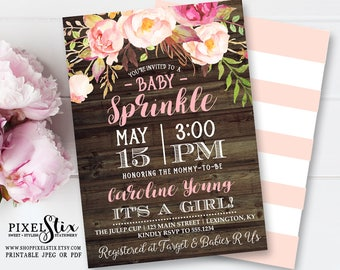 Floral Baby Sprinkle Invitation, Floral Baby Shower Invitation, Pink Flowers Rustic Invite, Shabby Chic Girl Shower, Vintage Rose and Peony
