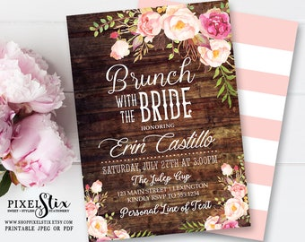 Floral Bridal Brunch Invitation, Rustic Brunch with the Bride, Bridesmaids Luncheon Invite, Vintage Rose and Peony with Weathered Wood