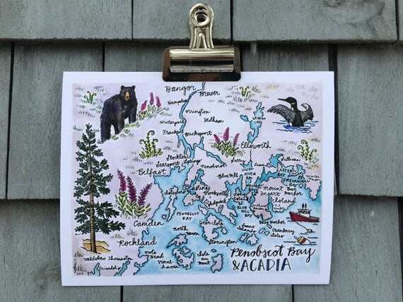 Penobscot Bay and Acadia Maine Illustrated Map