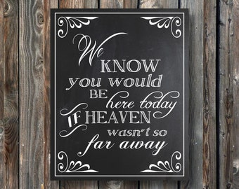 PRINTABLE Wedding Memorial Sign–We Know You Would be Here Today If Heaven Wasn't far Away–Wedding Memorial Chalkboard Sign-Instant Download