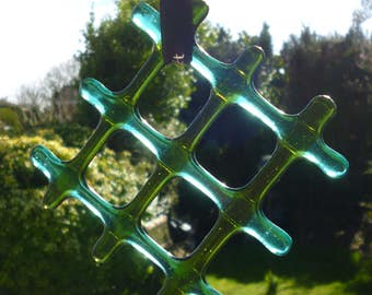 Fused Glass Suncatcher.  Lattice  Green  and Teal Suncatcher.  Green Lightcatcher.